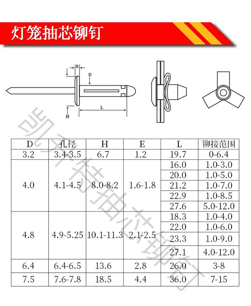 防水灯笼抽芯铆钉规格型号图